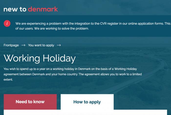 デンマーク入国局のワーホリ申請ページ