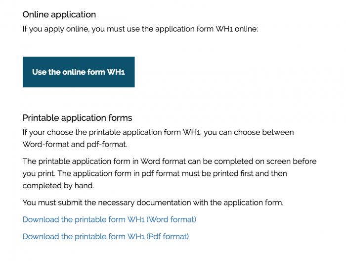 ②申請フォーム(デンマーク入国局のワーホリ申請ページ)