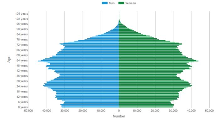 デンマークの年齢別人口(2020年)
