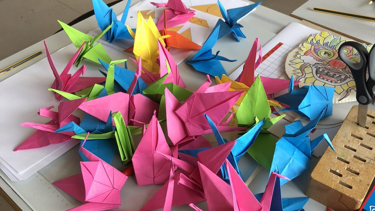子供たちが作った鶴