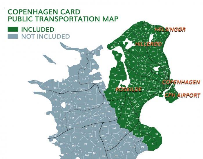 コペンハーゲンカードで公共交通機関が無料になるエリア