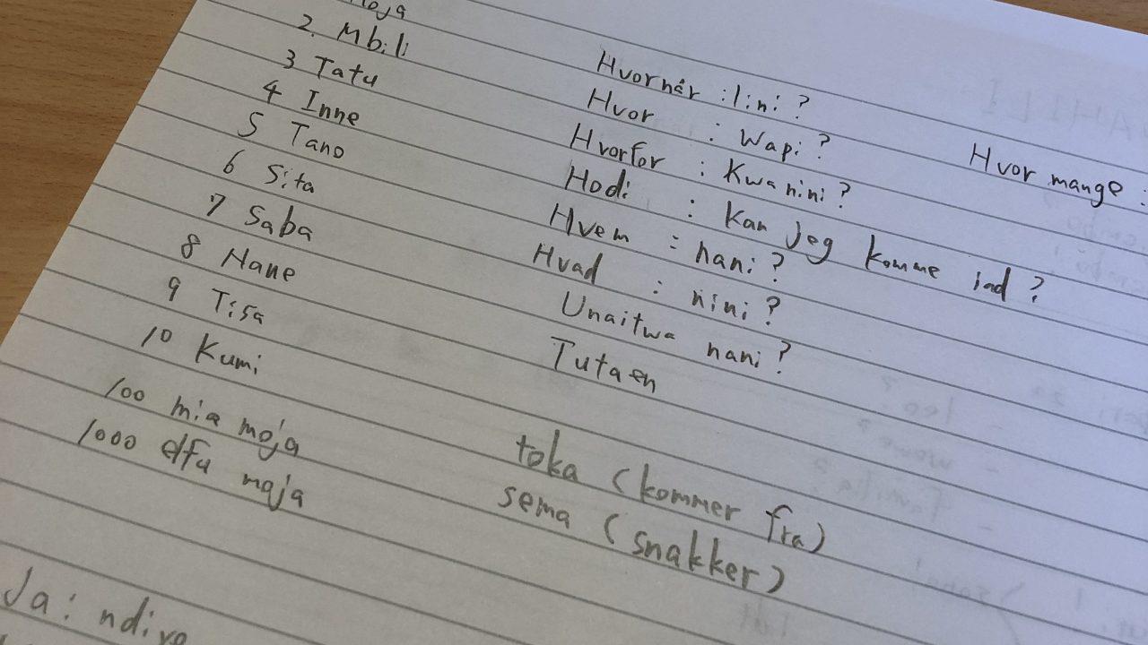 「デンマーク語」で「スワヒリ語」を習う授業を通して思ったこと。