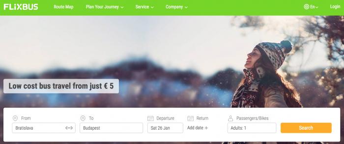 FlixBusのWebサイト