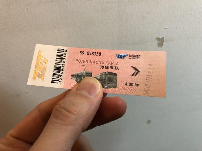トラムのチケット。後ろの壁紙がめくれているのは気にしないでください。