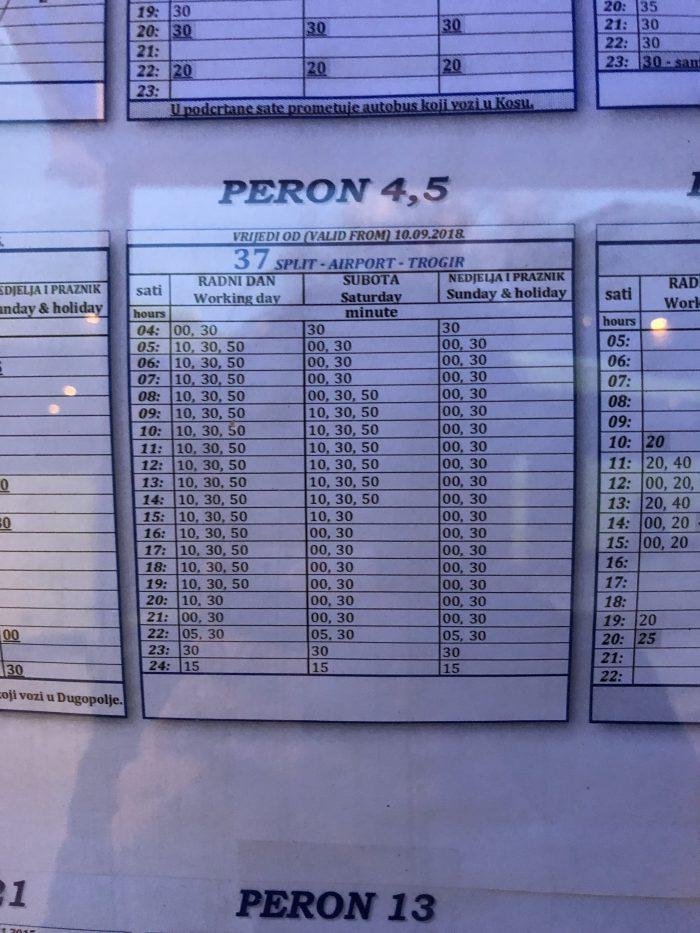 スプリト - トロギール間のバスの時刻表