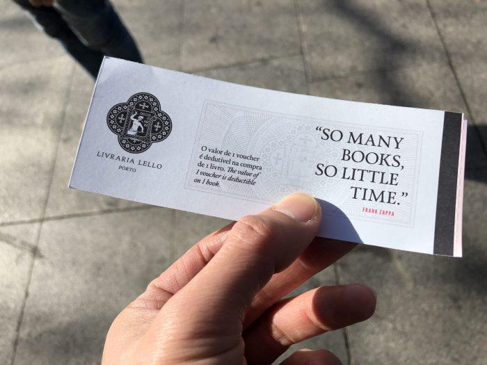 レロ書店のチケット。レロ書店の横にあるショップで購入しました。