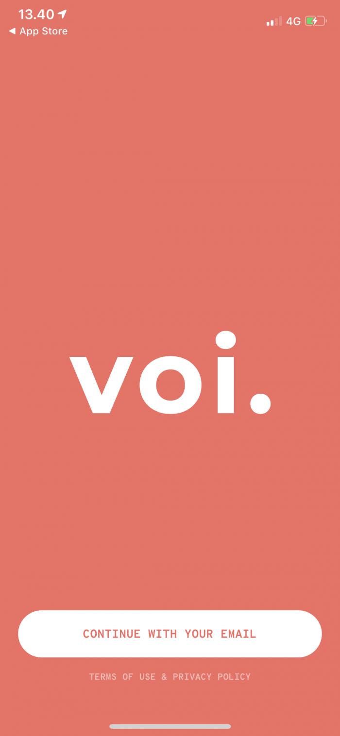 VOIのアプリを立ち上げた画面