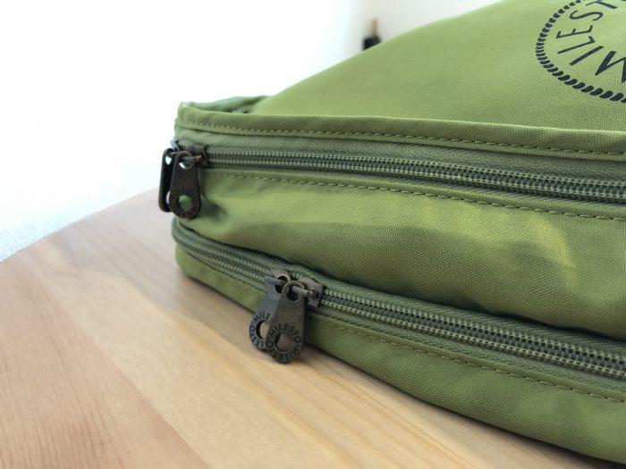 MILESTOの8L×2収納バッグ。収納スペースが2つあって便利です。
